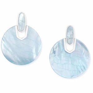 Didi Bright Silver Statement Earrings In Sky Blue